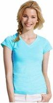 Dames t-shirt  V-hals lichtblauw 38 (M)
