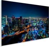 De nachtlichten van de stad Osaka in Japan tijdens de nacht Plexiglas 30x20 cm - klein - Foto print op Glas (Plexiglas wanddecoratie)