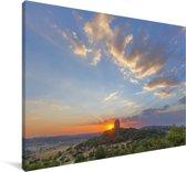 Zonsondergang bij het Zuid-Afrikaanse landschap van Pretoria Canvas 140x90 cm - Foto print op Canvas schilderij (Wanddecoratie woonkamer / slaapkamer)