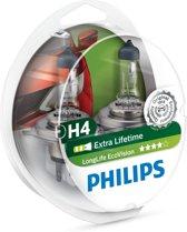 Philips LongLife EcoVision - Auto Koplampenset H4 - 12V - 2 Stuks