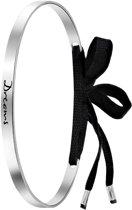 Lucardi Armbanden - Zilveren armband tekst/zwart koord Bali