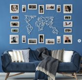 Metalen Wereldkaart Wit XL - 80x140cm - Groot Formaat - Metal World Map White XL - Hoagard Wall Deco | Best Seller | Muurdecoratie | Fantastisch Cadeau Idee Voor Reizigers | Perfect Gift for Travel Lovers