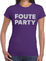 Foute Party zilveren glitter tekst t-shirt paars dames - foute party kleding 2XL