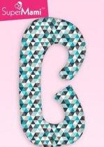 Zwangerschapskussens / Voedingskussen  -  C vorm - Turquoise driehoeken klein