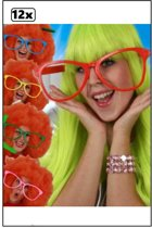 12x Maxi bril met transparant glas assortie kleur