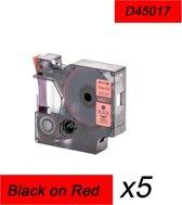 5x Compatible voor Dymo 45017 Standard Label Tape -  Zwart op Rood  - 12mm