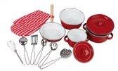 Keukengerei rood/wit