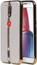 M-Cases Wit Leder Design TPU hoesje voor Motorola Moto G4 / G4 Plus