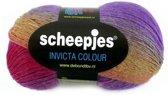 SCHEEPJES Invicta Colour sokkenwol 955.  ROOD PAARS GEEL. PAK MET 5 BOLLEN a 100 GRAM.