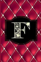 F: Monogram Journal or Diary. Captivating Ruby Red and Gold Diamond Design with a Decorative Uppercase Initial with Textu