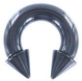 Circular Barbell Spikes Zwart 6 MM ©LMPiercings