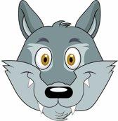 Kartonnen wolven masker voor kinderen
