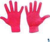 Handschoenen gebreid anti-slip grip sport roze senior maat s/m