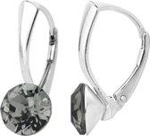 ARLIZI 1255 Oorbellen Swarovski Kristal - Dames - 925 Sterling Zilver - 8 mm - Grijs