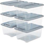 IRIS New TopBox opbergbox - 15 l - Kunststof - Transparant/Zilver - 6 stuks