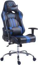 Clp Racing bureaustoel LIMIT XL, gaming stoel, max. belasting 150 kg, kunstleer - zwart/blauw zonder voetsteun