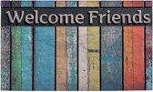 Schoonloopmat met print / Ecomaster Sloophout Welcome Friends 028 / 45 cm x 75 cm / Sloophout Welcome Friends 028