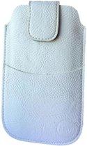 Huawei Ascend Y330 Wit Insteekhoesje met riemlus en opbergvakje
