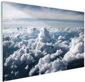 In de wolken Glas 90x60 cm - Foto print op Glas (Plexiglas wanddecoratie)