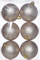 Cosy&Trendy Kerstballen Ø 8 cm - Champagne glitter - Set-6