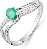 Majestine 9 Karaat Ring Witgoud met Emerald Steen Maat 58