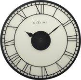NeXtime Big Ben - Klok - Stil Uurwerk - Rond - Glas - Ø43 cm - Gematteerd Wit