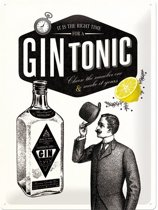 Retro Metalen Reclamebord Gin Tonic 30 x 40 cm