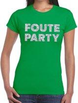 Foute Party zilveren glitter tekst t-shirt groen dames - foute party kleding 2XL