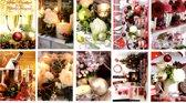 100 Luxe Kerst- en Nieuwjaarskaarten - 9,5x14cm - 10 x 10 dubbele kaarten met enveloppen - serie Christmas