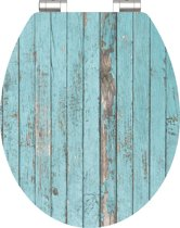SCHÜTTE WC-Bril 80536 BLUE WOOD - High Gloss - MDF-Hout - Soft Close - Verchroomde Scharnieren - Decor - 1-zijdige Print