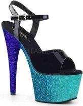 Pleaser Sandaal met enkelband -38 Shoes- ADORE-709OMBRE Zwart/Blauw