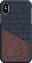 Nordic Elements Frejr backcover voor Apple iPhone X/Xs -  Walnoot hout / donkergrijs textiel