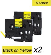 2x Brother Tze-631 TZ-631 Compatible voor Brother P-touch Label Tapes - Zwart op Geel - 12mm
