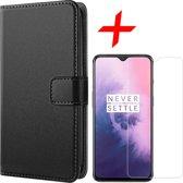 OnePlus 7 Hoesje + Screenprotector Case Friendly - Portemonnee Hoesje Book Case - iCall - Zwart