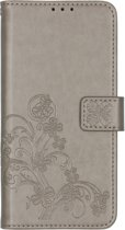 Klavertje Bloemen Booktype OnePlus 7T hoesje - Grijs