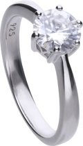 Diamonfire - Zilveren ring met steen Maat 18.0 - Steenmaat 7 mm - Chatonzetting