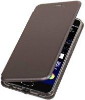 BestCases.nl Grijs Premium Folio leder look booktype smartphone hoesje voor Huawei P10