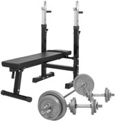 Gorilla Sports Verstelbare Halterbank Met 70 kg Halterset Gietijzer