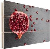 Granaatappel en zaden op tafel Vurenhout met planken 90x60 cm - Foto print op Hout (Wanddecoratie)