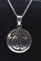 Zilveren Indiaan Levensboom rond hopi style ketting hanger