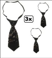 3x Stropdas pailletten zwart