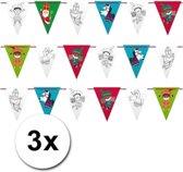 3 Sinterklaas vlaggenlijnen smile 6 meter - Sint slinger