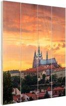 Zonsondergang in Praag Hout 20x30 cm - Foto print op Hout (Wanddecoratie)