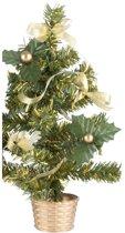 Mini kerstboompje met gouden versiering 20 cm - mini kunst kerstboom
