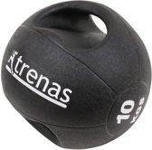 Trenas Medicijnbal - Medicine bal met dubbele handgrepen - Medicine bal Dual Grip - 10 kg - Zwart - (Professioneel gebruik)