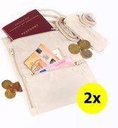2x Multifunctioneel Nektasje - Nektas Inzetbaar als Reistas / Reisportemonnee / Paspoorthouder / Paspoort Etui Crème