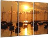 Canvas schilderij Boot | Geel, Zwart, Wit | 120x80cm 3Luik