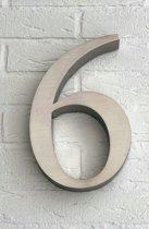 Huisnummer 6 van RVS 3D XL / Hoogte 25 cm / Huisnummer 6 groot.