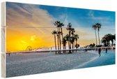 Venice beach zonsondergang Hout 80x60 cm - Foto print op Hout (Wanddecoratie)