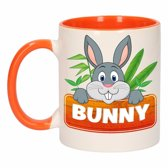 1x Bunny beker / mok - oranje met wit - 300 ml keramiek - konijnen bekers